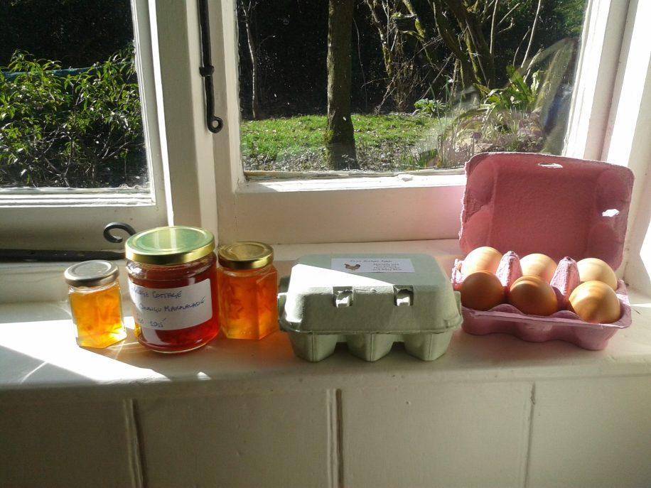 Home made marmalade and fresh laid eggs